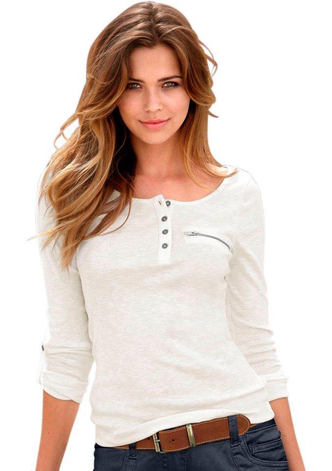 Classic Inspirationen Shirt mit Zierreißverschluss im Brustbereich in ecru