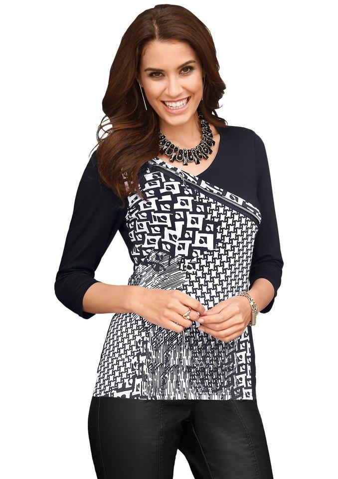Alessa W. Shirt mit imitiertem Reißverschluss in schwarz-weiß-gemustert