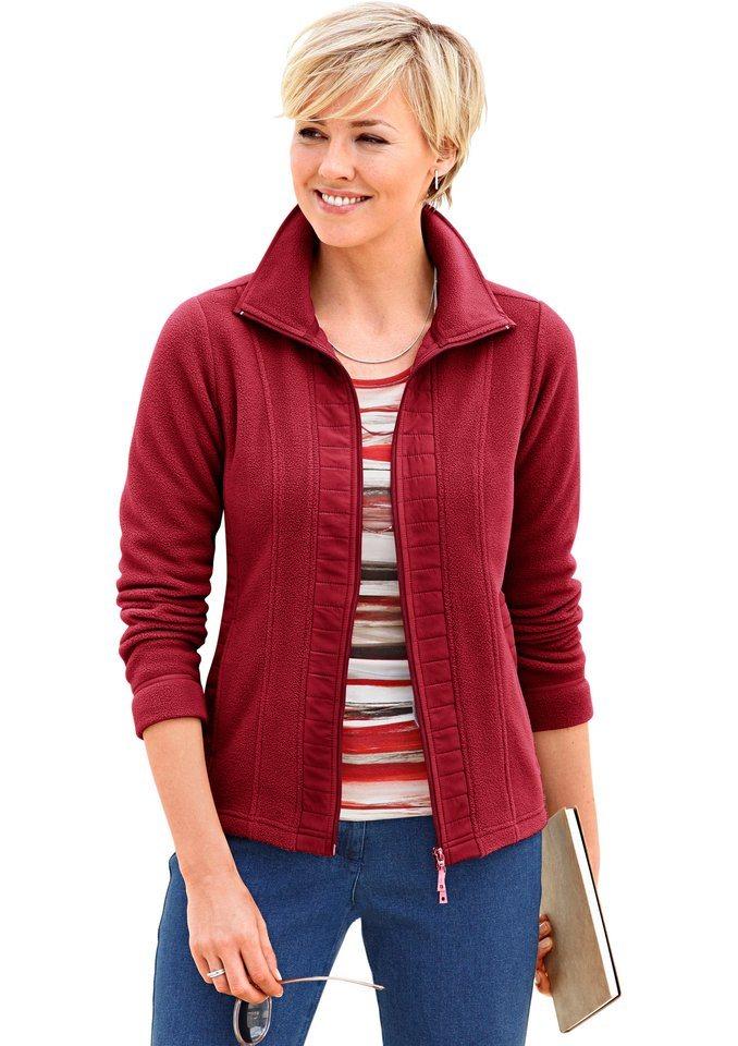Collection L. Fleece-Jacke mit Umlegekragen in rot