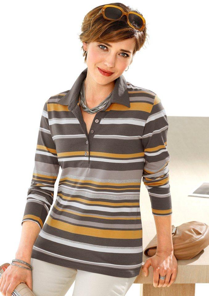 Collection L. Shirt mit modisch verdeckter Knopfleiste in honig-geringelt