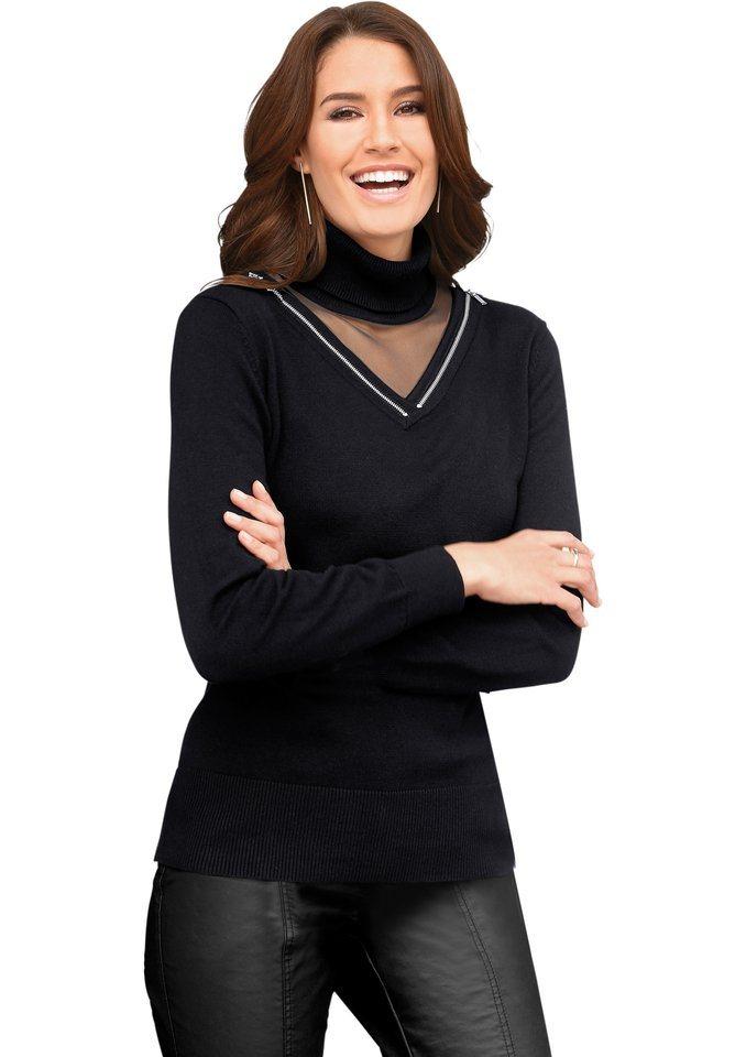 Alessa W. Pullover mit dekorativen Zierreißverschlüssen in schwarz