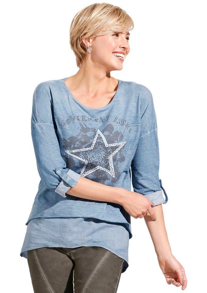 Classic Inspirationen Longshirt mit effektvoller Steinchenverzierung im Vorderteil in jeansblau-bedruckt