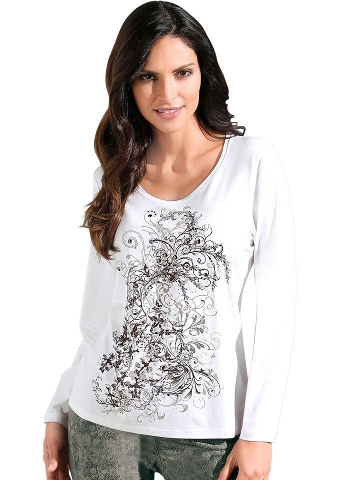 Classic Inspirationen Shirt mit Glitzersteinchen- und Metallplättchen-Verzierung in wollweiß
