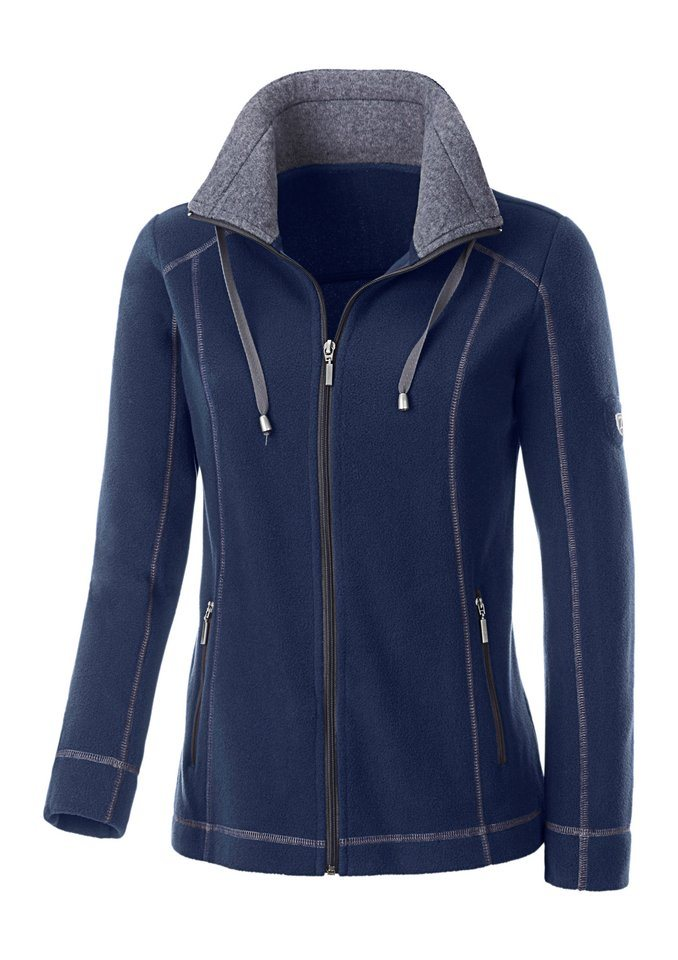 Collection L. Fleece-Jacke mit Umlegekragen in marine-grau-meliert