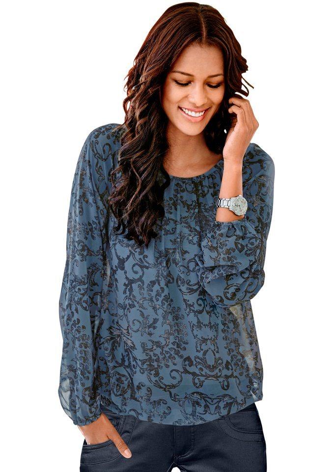 Classic Inspirationen Bluse im Ornament-Dessin in jeansblau-bedruckt