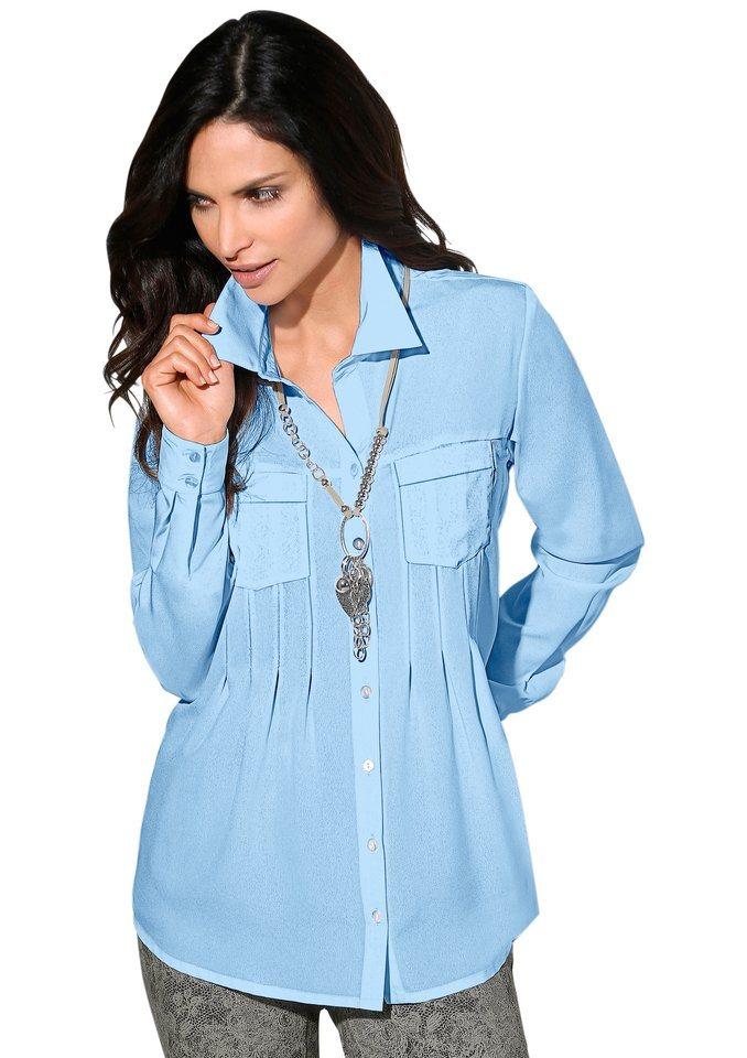 Classic Inspirationen Bluse mit Hemdkragen in hellblau