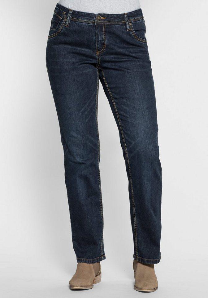sheego Denim Gerade Stretch-Jeans in dark blue denim