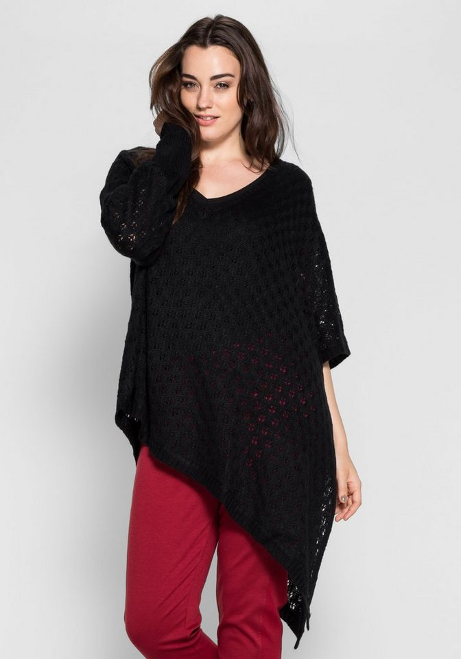 sheego Style Pullover in Poncho-Form in schwarz