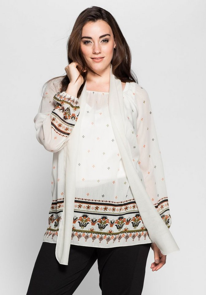 sheego Style Tunika mit Schal in offwhite