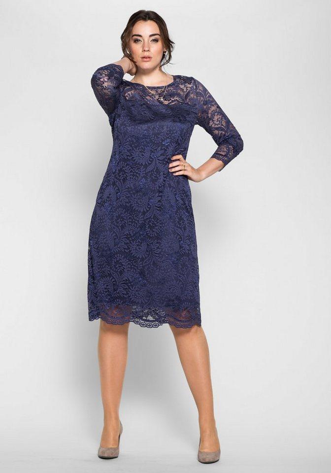 sheego Anna Scholz Cocktail-Kleid aus Spitze in nachtblau
