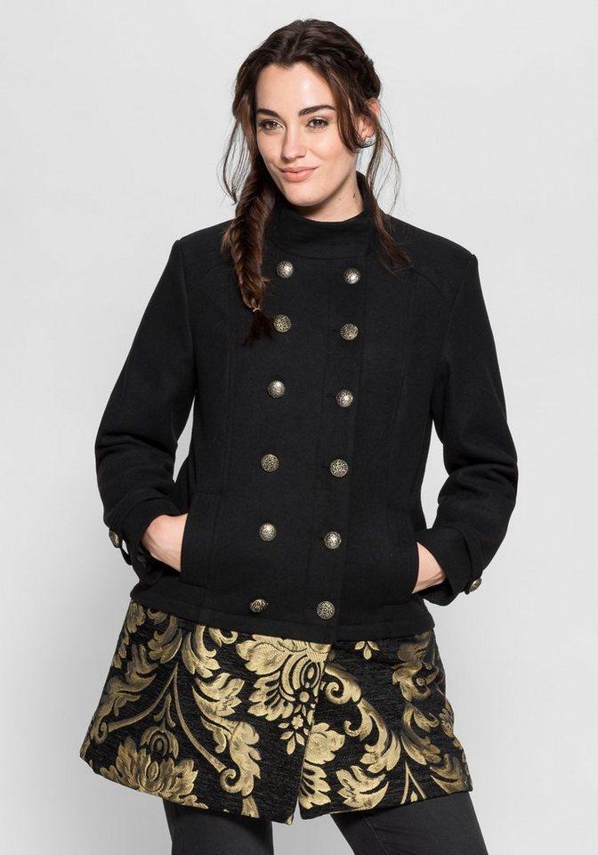 sheego Style Kurzjacke in 2-in-1-Optik in schwarz-goldfarben