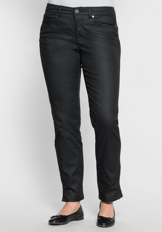 sheego Casual Schmale Stretchhose in 5-Pocket-Form in schwarz