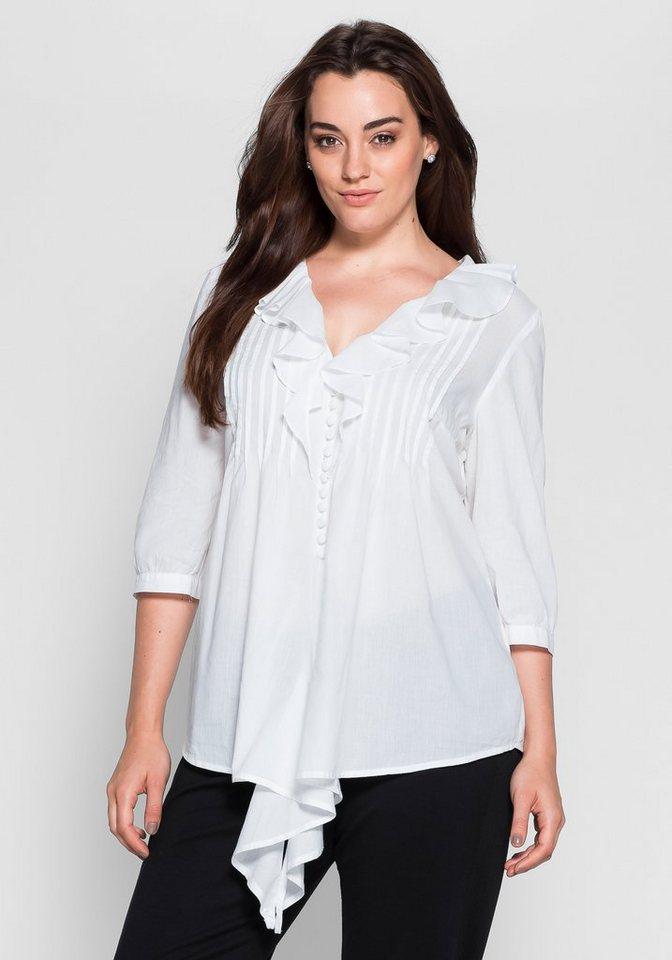sheego Style Bluse in Zipfeloptik in weiß