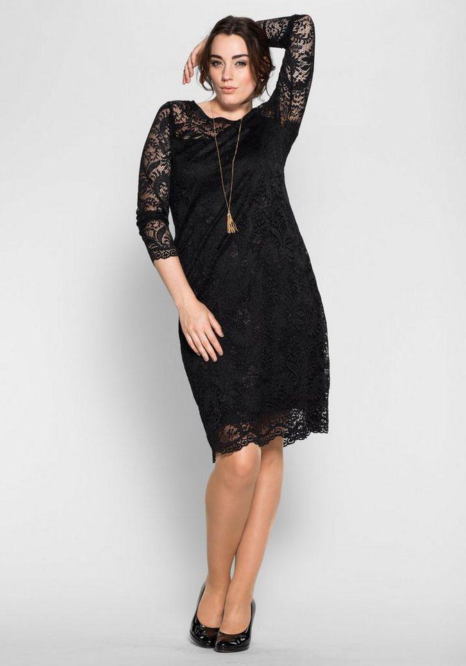 sheego Anna Scholz Cocktail-Kleid aus Spitze in schwarz