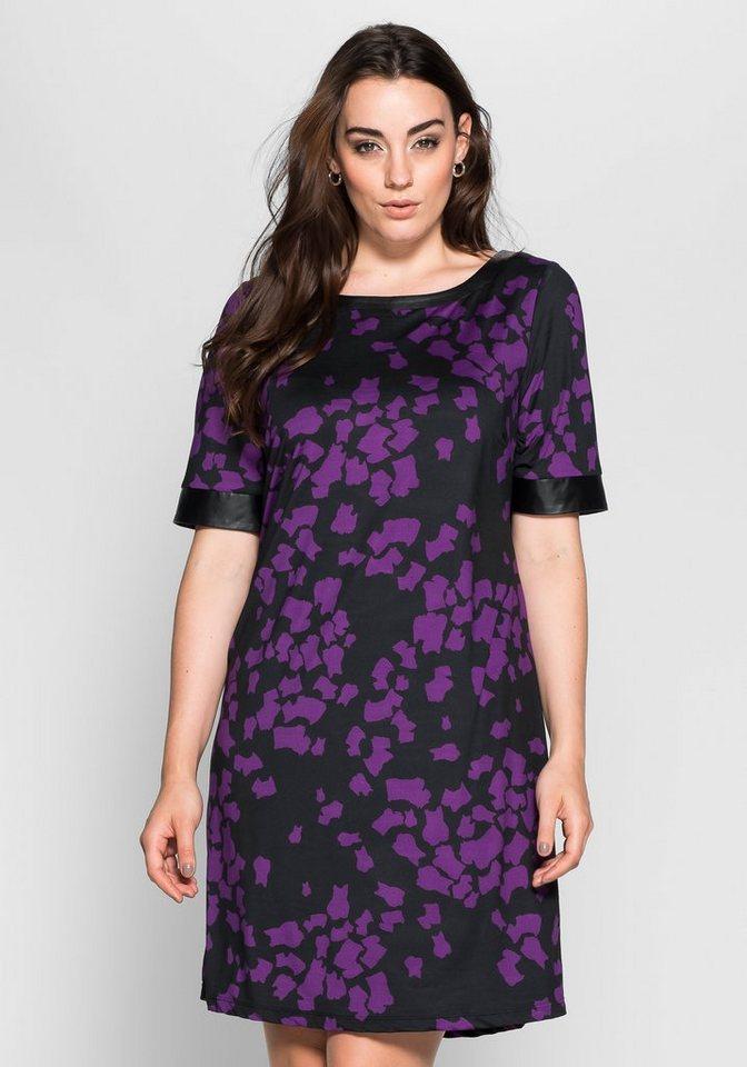 sheego Anna Scholz Jerseykleid im rockigen Stil in schwarz-lila