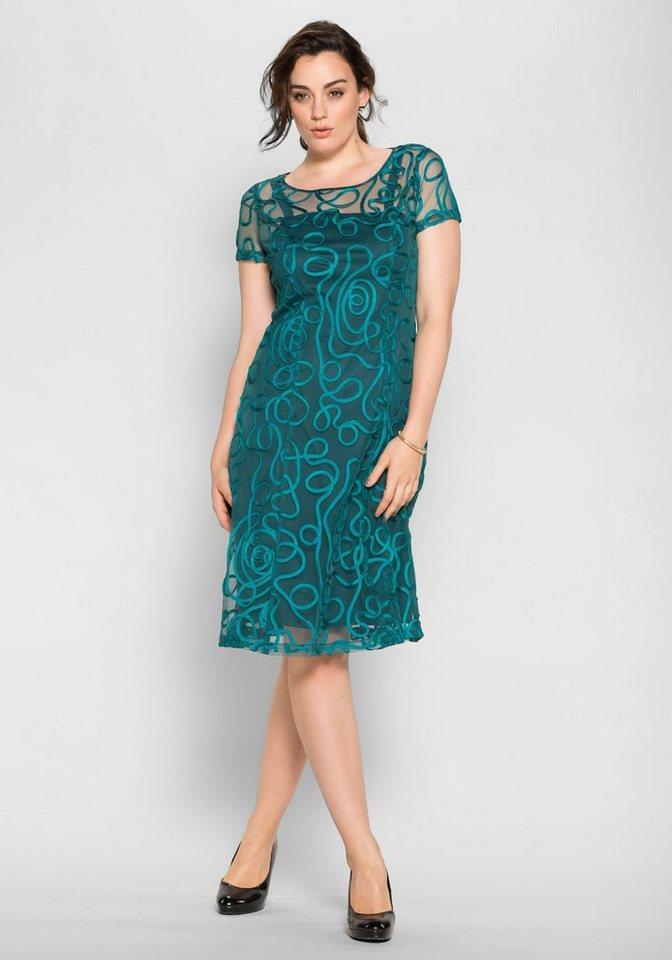 sheego Style Spitzenkleid mit kurzem Arm in opalgrün