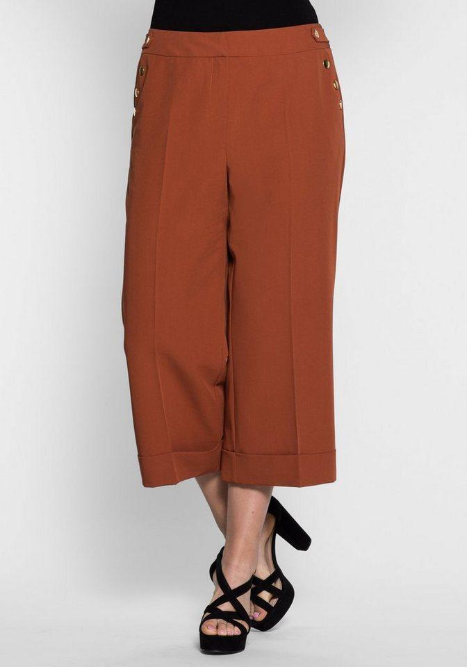 sheego Trend Culotte mit goldfarbenen Knöpfen in zimt