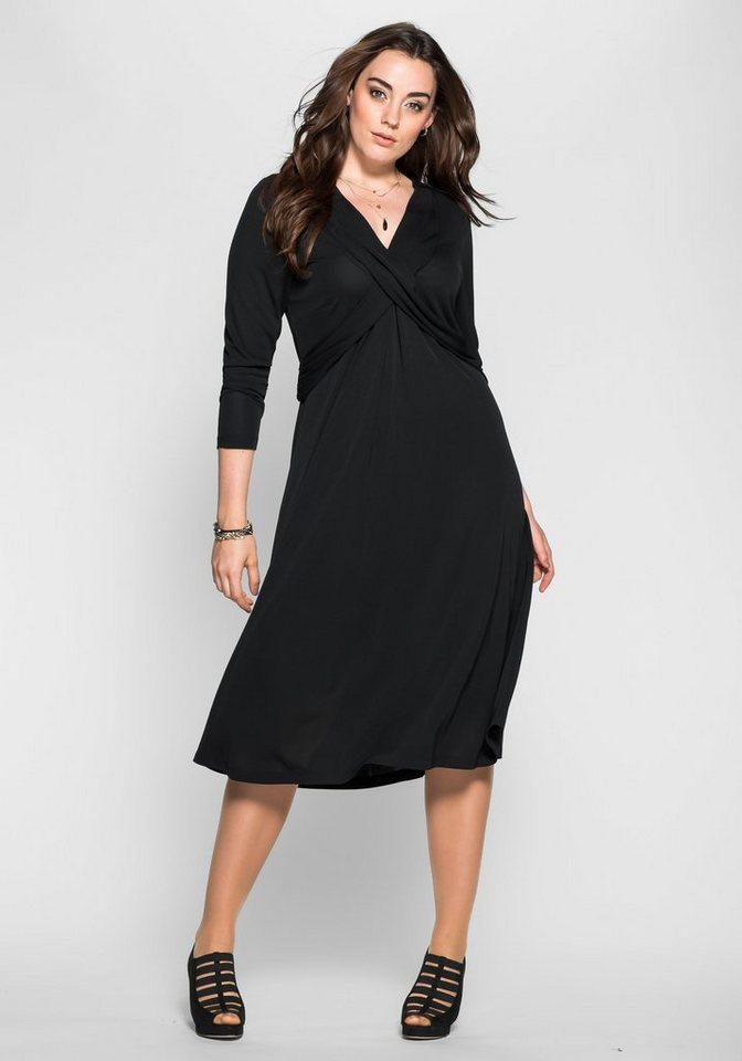sheego Anna Scholz Jerseykleid mit Wickeleffekt in schwarz