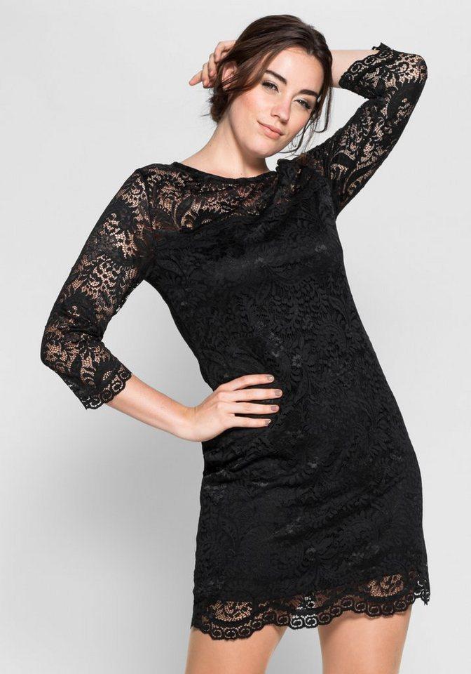 sheego Anna Scholz Spitzenkleid mit transparenten Ärmeln in schwarz