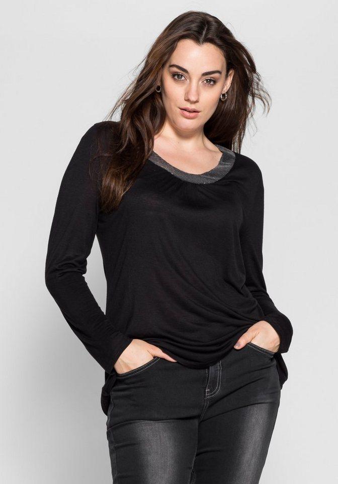 sheego Style Langarmshirt mit Pailletten in schwarz