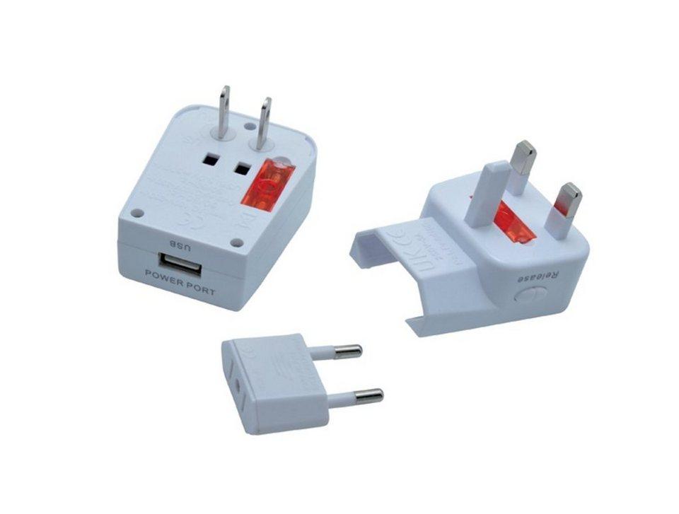 baladeo Reisestecker »Miles mit USB-Anschluss« in weiß