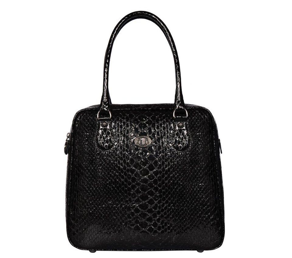 Silvio Tossi Handtaschen in schwarz-schlangengeprägt