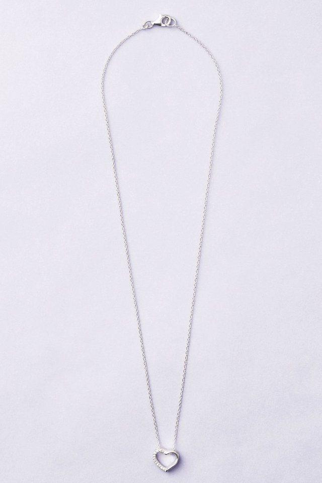 Next Halskette aus Sterlingsilber mit Strassherz in Silberfarben