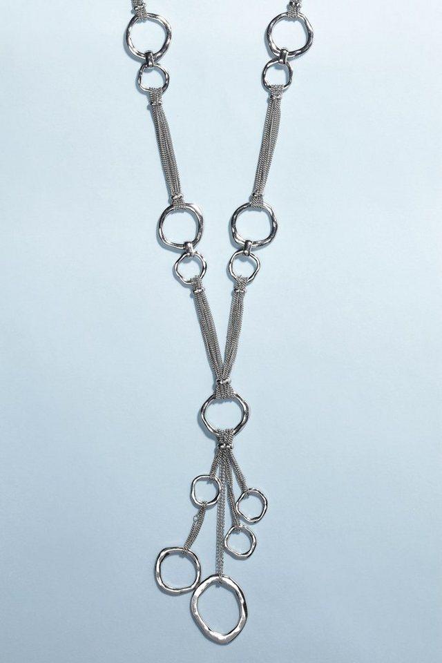 Next Lange Halskette mit Ringanhängern in Silberfarben