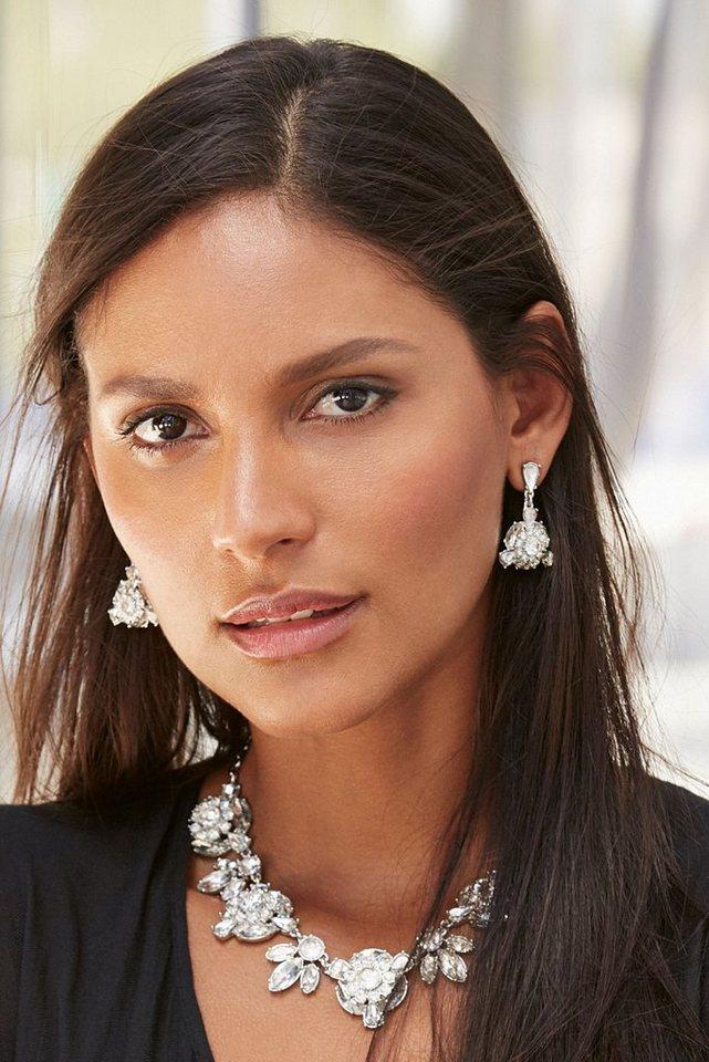 Next Auffällige Halskette mit Schmucksteindetails in Silberfarben