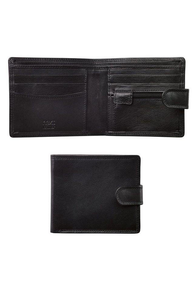 Next Portemonnaie aus Leder mit Knopf in Black