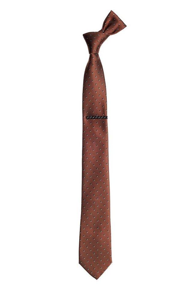 Next Gemusterte Krawatte und Krawattennadel 2 teilig in Braun