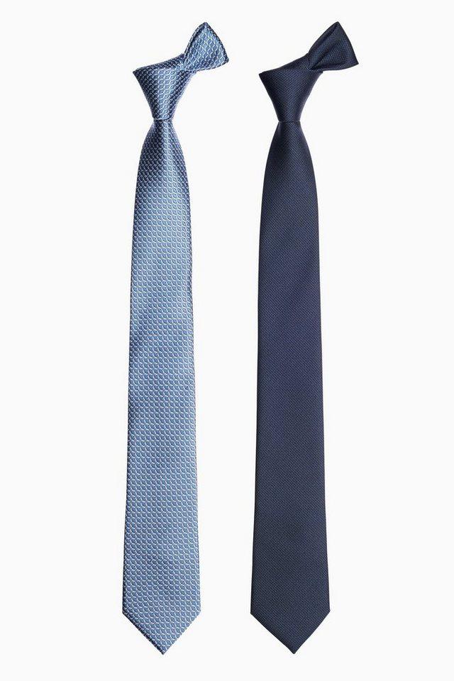 Next Krawatten, einfarbig blau und gemustert, 2er-Pack 2 teilig in Blau