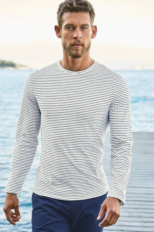 Next Gestreiftes, langärmeliges Shirt in Weiß