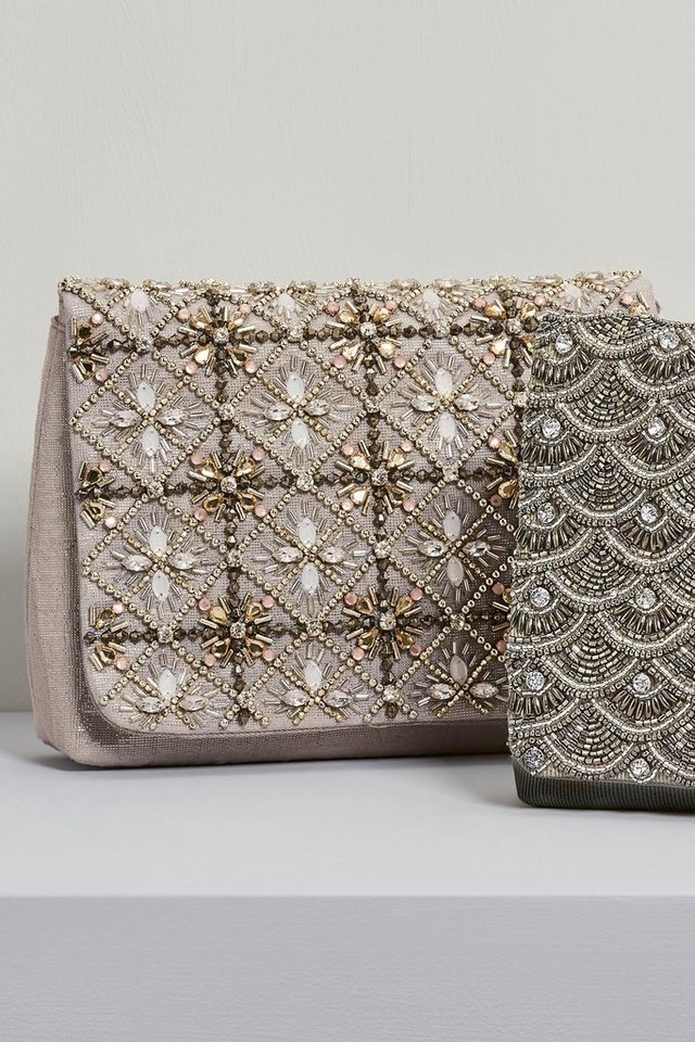 Next Clutch mit Perlendetails in Nerz