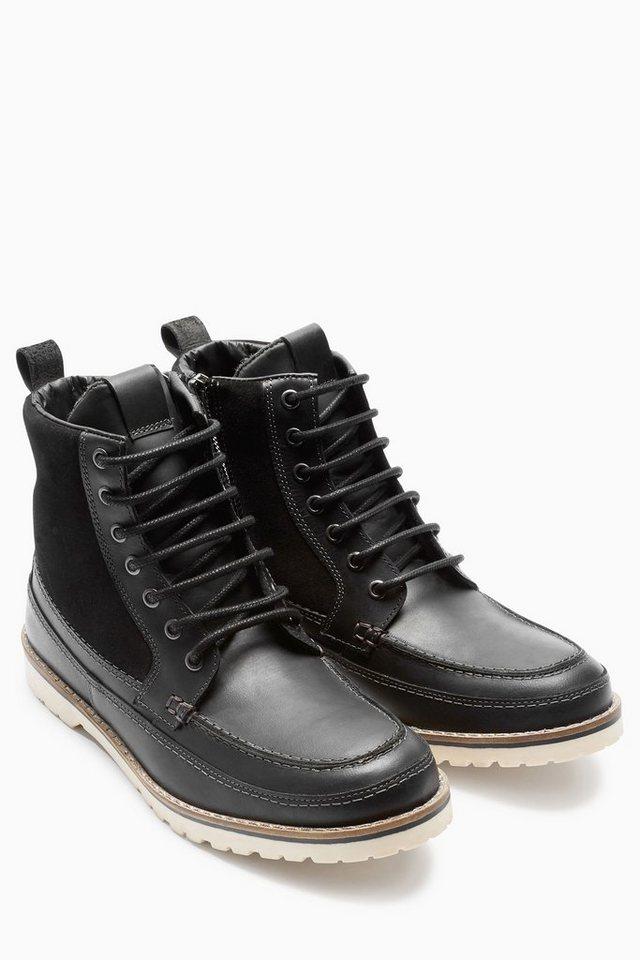Next Stiefel aus Leder-Mix in Schwarz