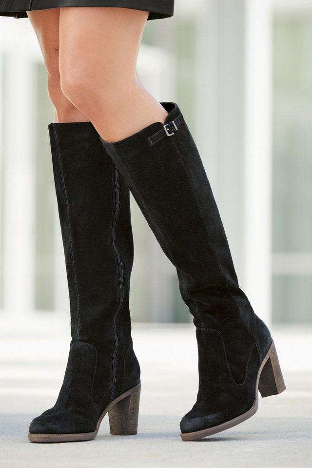 Next Hoher Stiefel aus Veloursleder in Schwarz