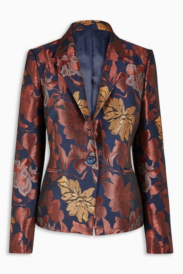 Next Floraler Jacquard-Blazer in Metallic-Optik in Blau