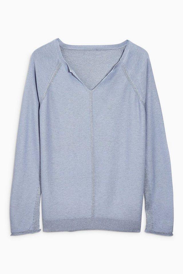 Next Schimmernder Pullover mit Schlitzausschnitt in Blau