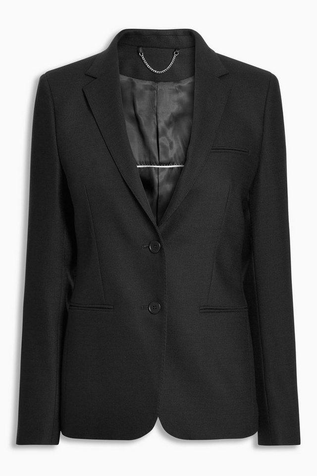 Next Strukturierter, einreihiger Blazer in Schwarz