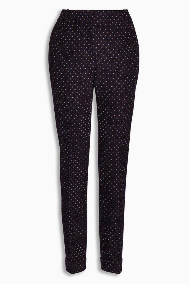 Next Hose mit schmal zulaufendem Bein und Foulard-Muster in Blau