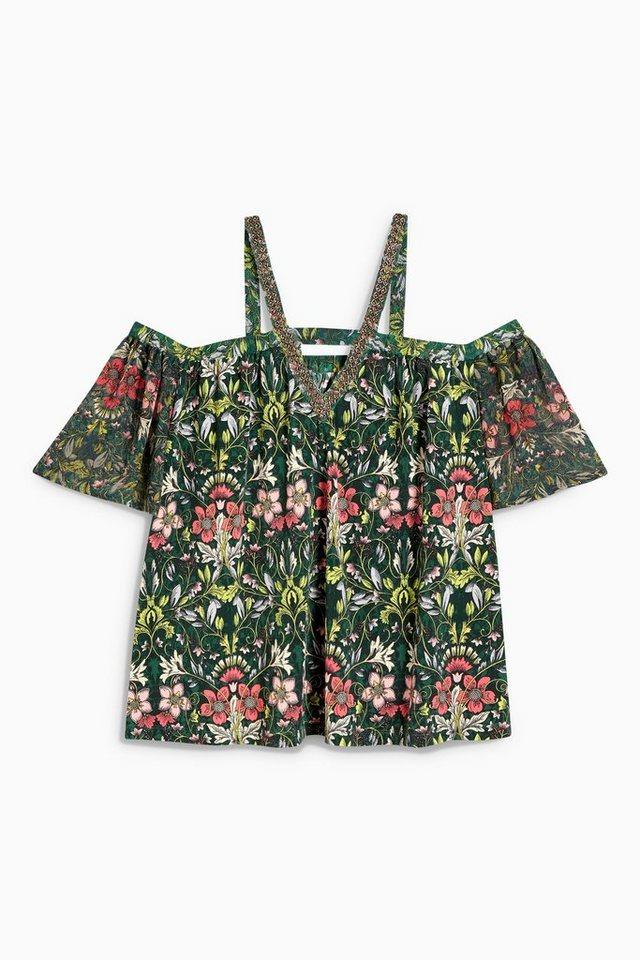 Next Schulterfreies T-Shirt mit Zierdetail in Grün geblümt