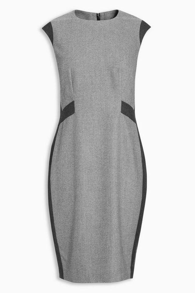 Next Kleid aus Wolle mit Fischgrätmuster in Grau
