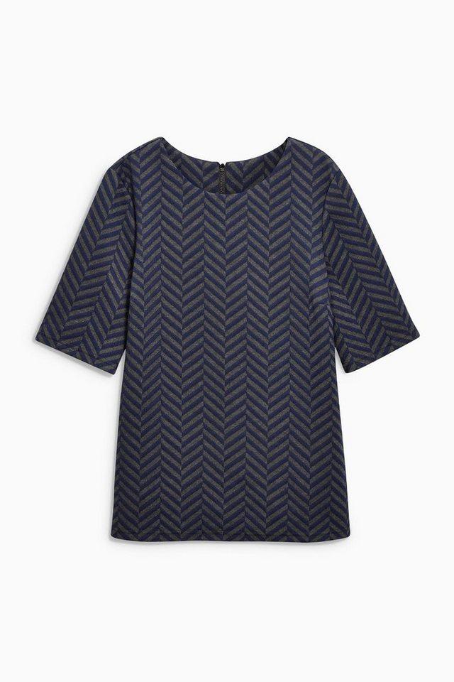 Next Kastenförmiges T-Shirt mit Zickzackmuster in Blau