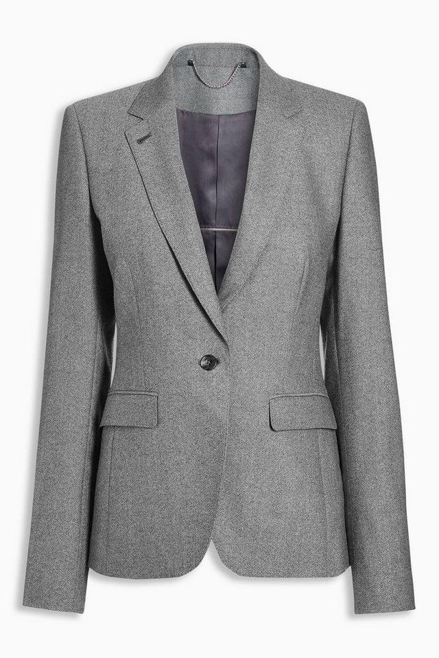 Next Blazer aus Wolle mit Fischgrätmuster in Grau