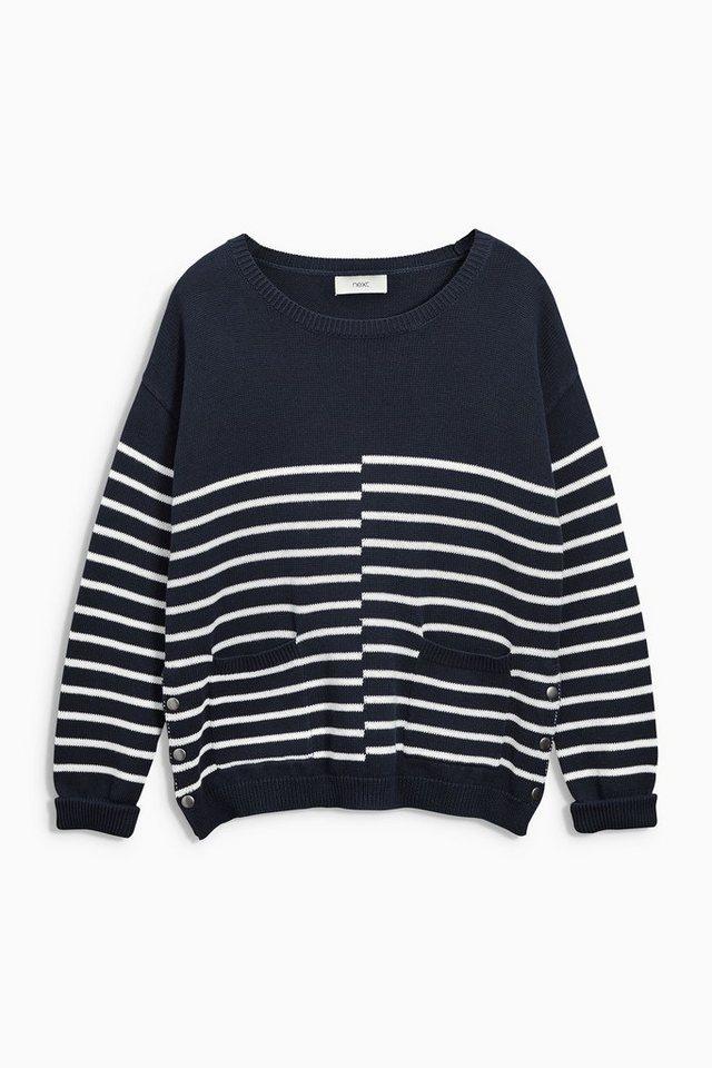 Next Pullover im Marinestil aus Baumwolle und Leinen in Marine