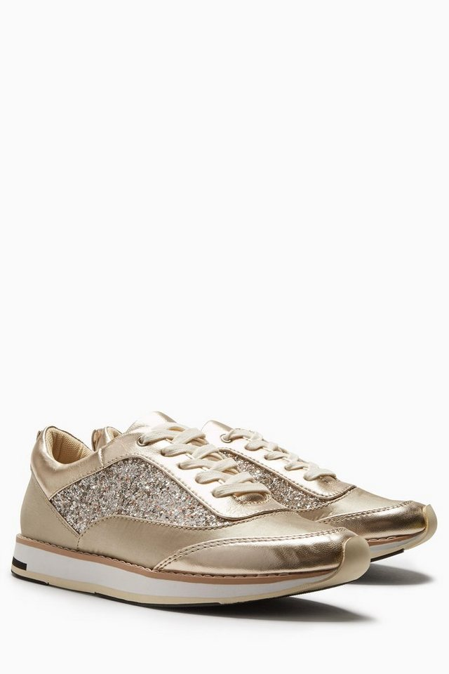 Next Premium-Sneaker in Glitzeroptik in Goldfarben
