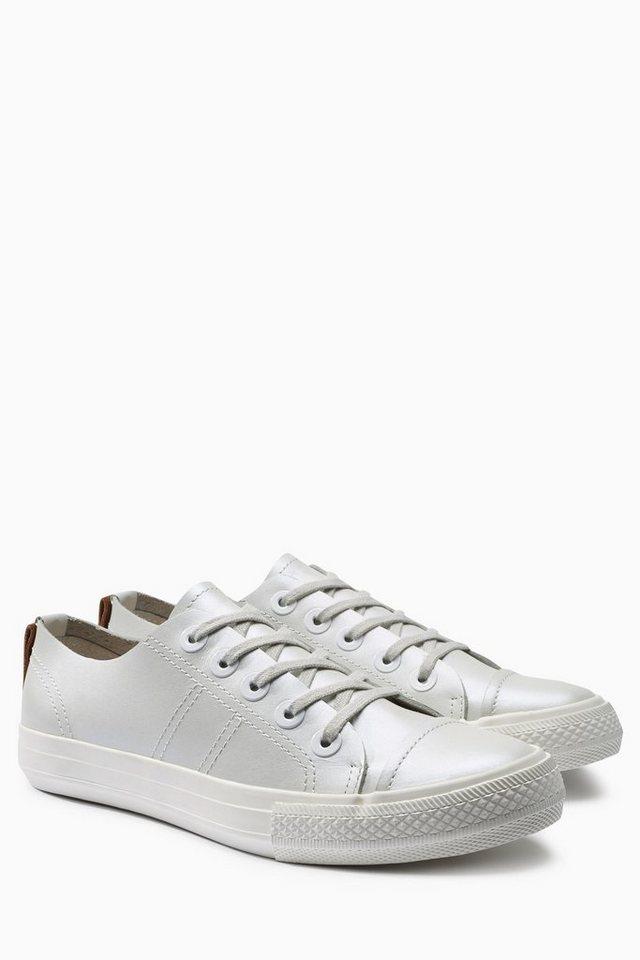 Next Metallic-Sneaker aus Leder in Weiß-Metallik