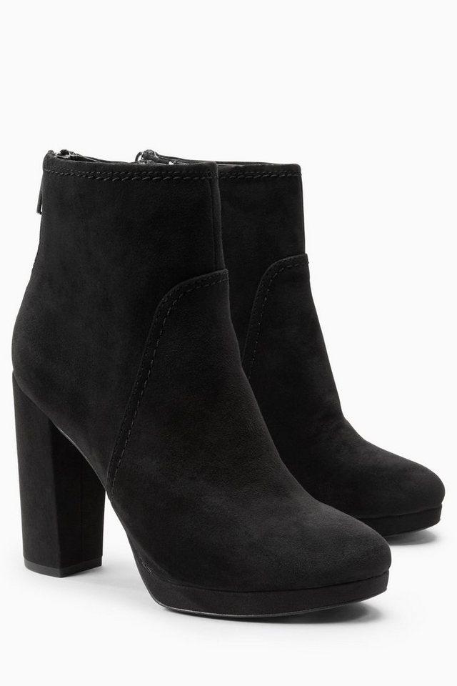 Next Stiefel mit Plateausohle und Nahtdetails in Schwarz