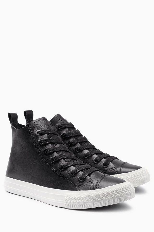 Next Hoher Sneaker aus Leder in Schwarz