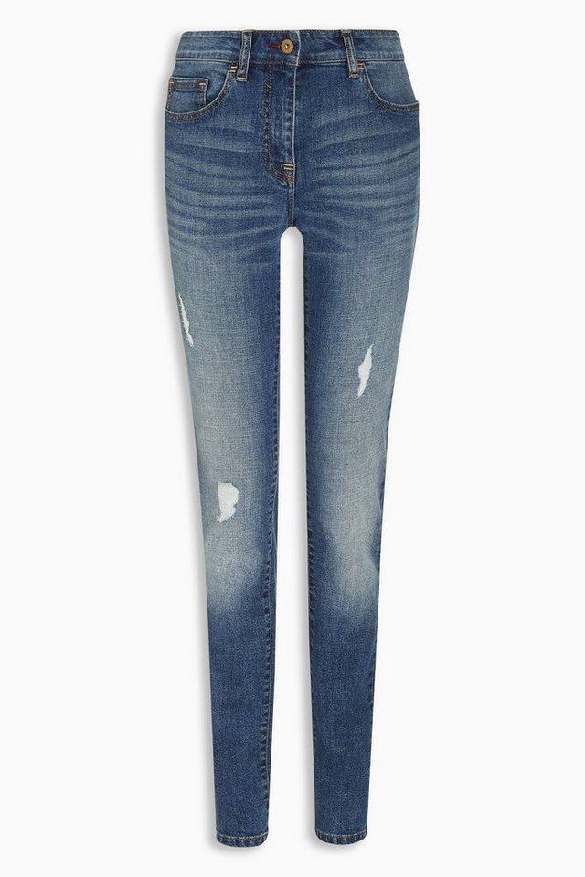 Next Skinny-Jeans in Used-Optik in Blau
